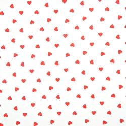 Tkanina w serduszka 8mm czerwone na białym tle