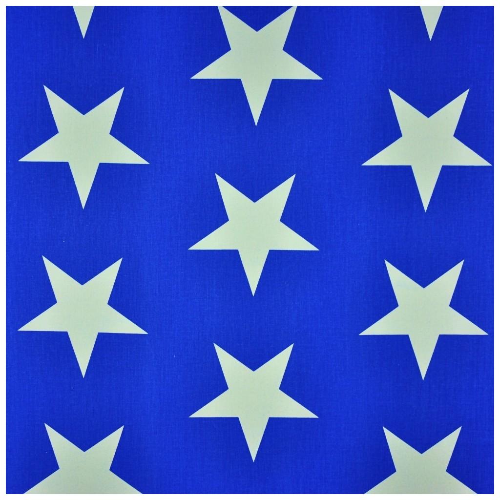 Tkanina w gwiazdy 90mm białe na granatowym tle