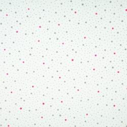 Tkanina w gwiazdki MINI różowo szaro na białym tle
