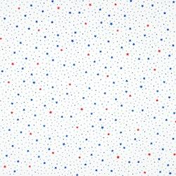 Tkanina w gwiazdki MINI granatowo czerwone na białym tle