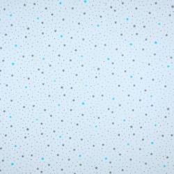 Tkanina w gwiazdki MINI turkusowo szare na białym tle