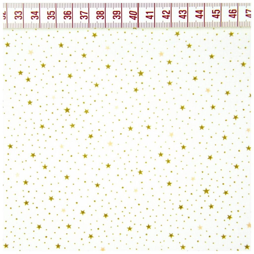 Tkanina w gwiazdki MINI beżowe na białym tle