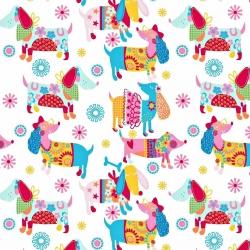 Tkanina w pieski kolorowe na białym tle