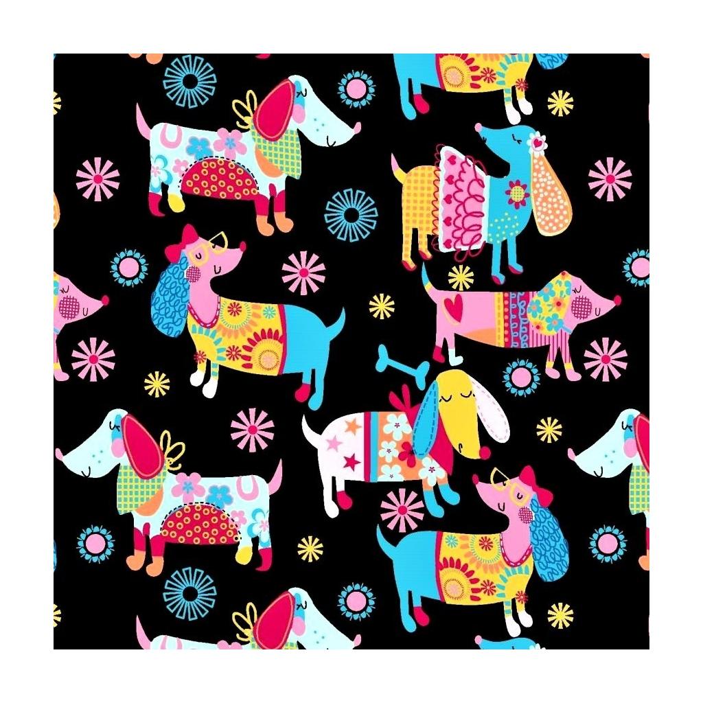 Tkanina w pieski kolorowe na czarnym tle