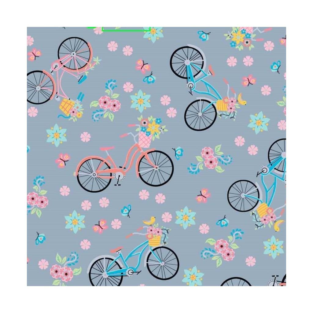 Tkanina w rowerki różowo niebieskie na szarym tle