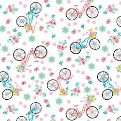 Tkanina w rowerki różowo niebieskie na białym tle