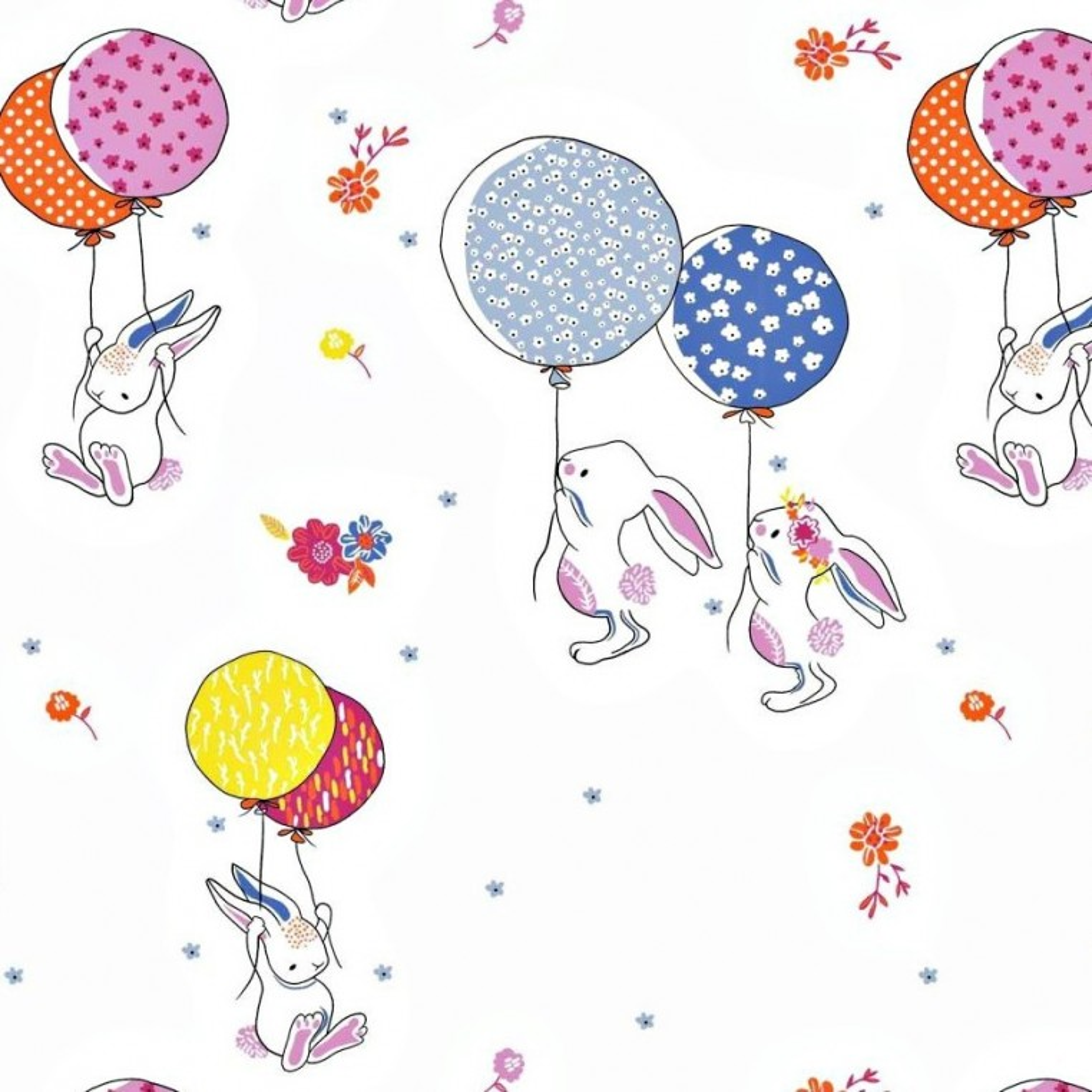 Bawełna króliki z balonikami na białym tle