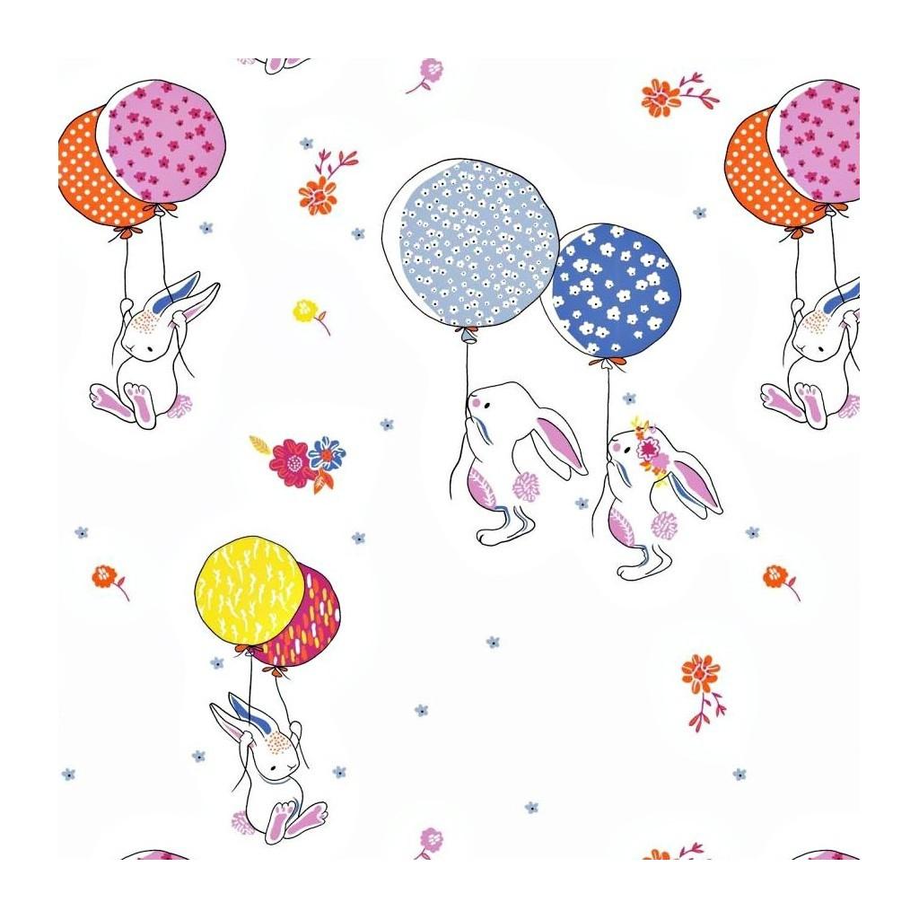 Tkanina w króliki z balonikami na białym tle