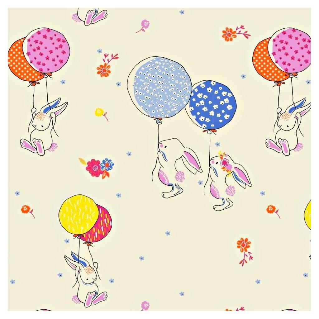 Tkanina w króliki z balonikami na ecru tle