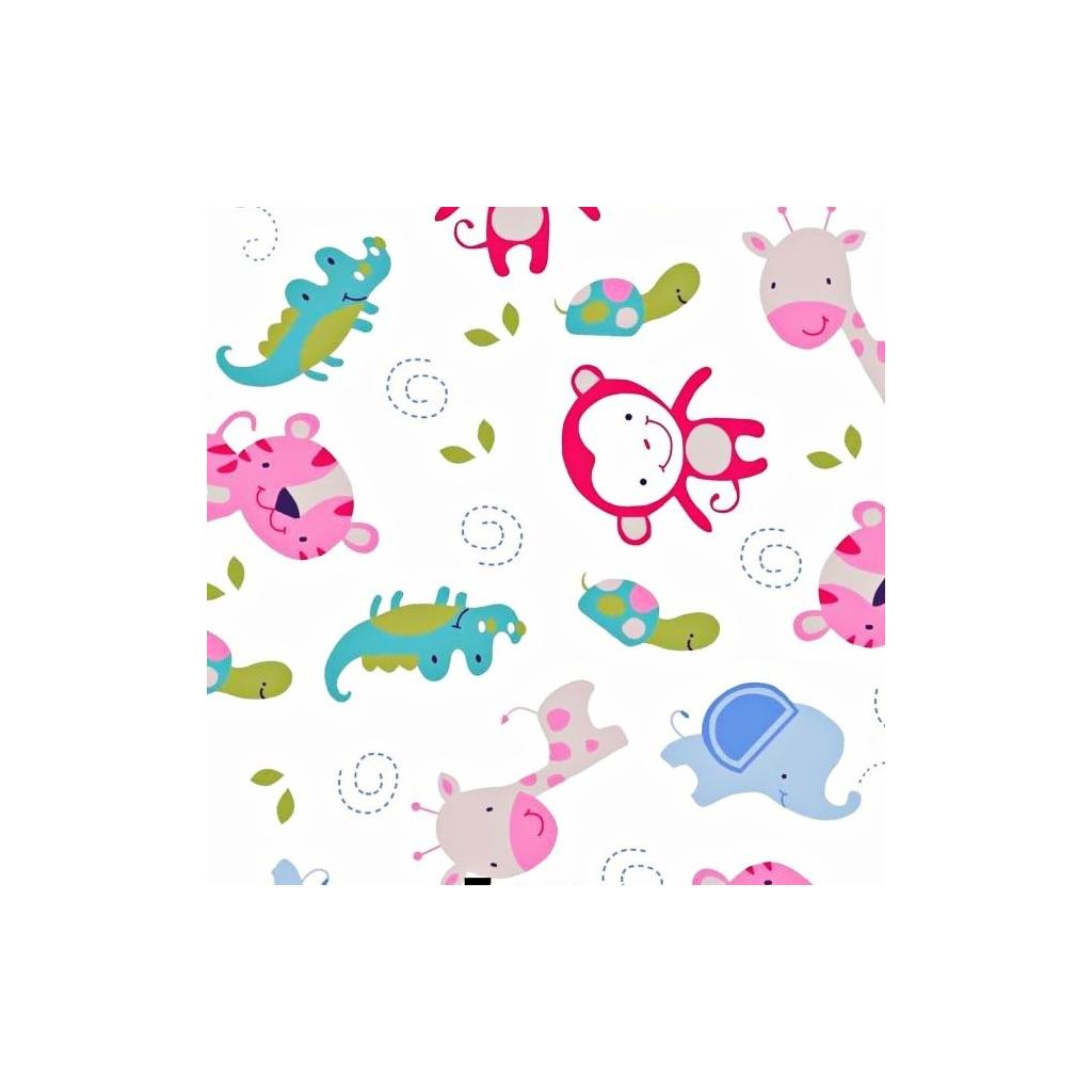 Tkanina w zwierzaczki z afryki niebiesko różowe na białym tle