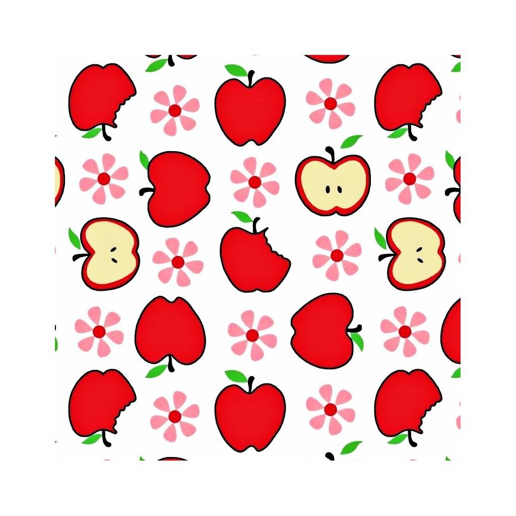 Tkanina w jabłka czerwone na białym tle