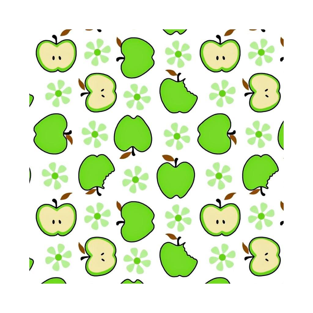 Tkanina w jabłka zielone na białym tle