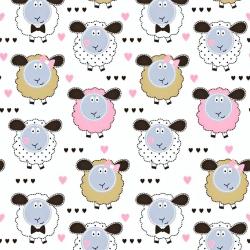 Bawełna beżowo różowe owieczki na białym tle