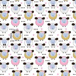 Tkanina w owieczki beżowo różowe na białym tle