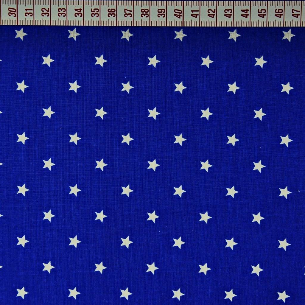 Bawełna gwiazdki 8mm białe na szafirowym tle