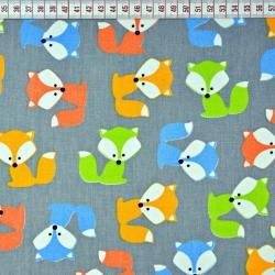Bawełna Liski kolorowe na szarym tle