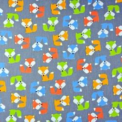 Tkanina w Liski kolorowe na szarym tle