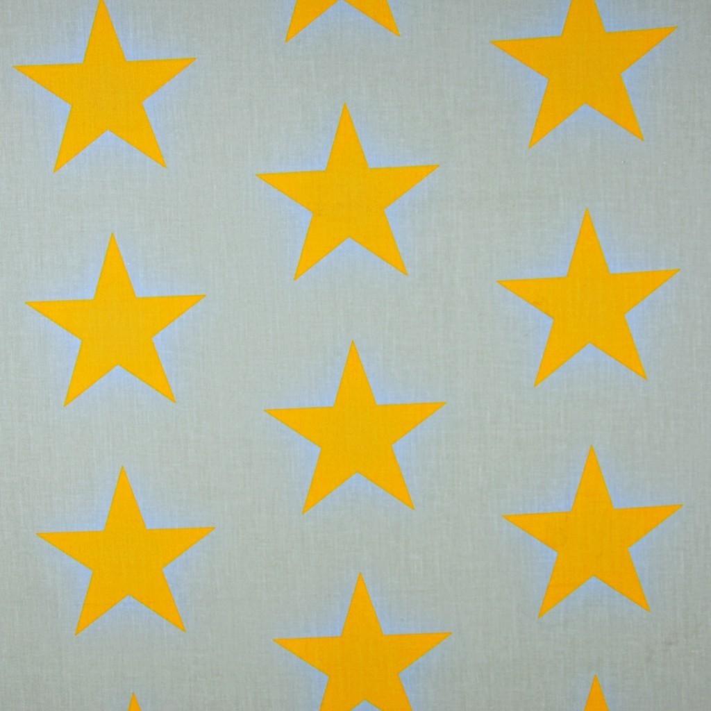 Tkanina w gwiazdy 90mm pomarańczowe na szarym tle