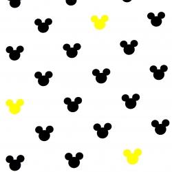 Tkanina w MIKI czarno żółte na białym tle