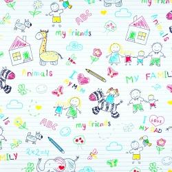 Tkanina w zeszyt kolorowy w linie na białym tle