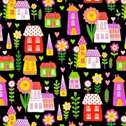 Tkanina w domki kolorowe na czarnym tle
