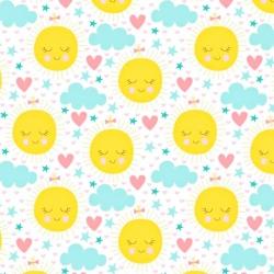 Bawełna Słoneczka żółte z miętowymi chmurkami na białym tle