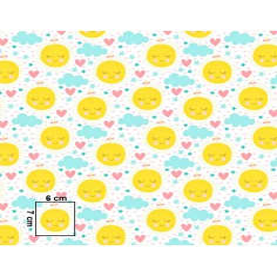 Tkanina w Słoneczka żółte z miętowymi chmurkami na białym tle