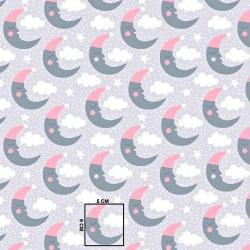 Tkanina w księżyce szaro różowe na szarym