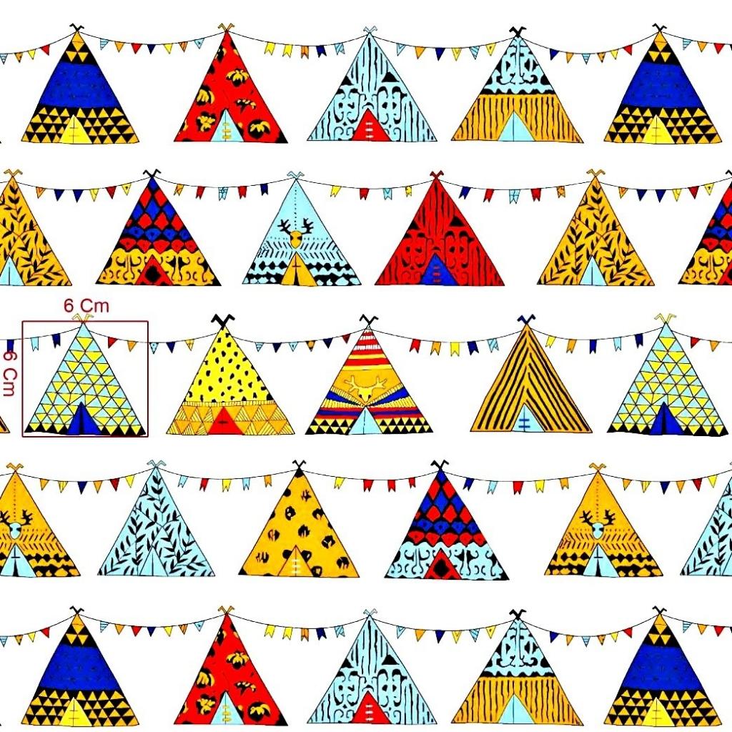 Tkanina w Indiańskie tipi kolorowe na białym tle