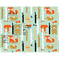 Tkanina w zwierzęta w lesie na miętowym tle