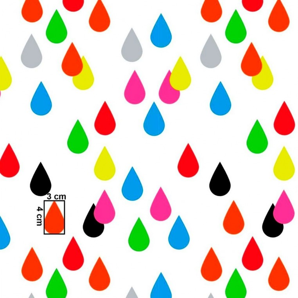 Tkanina w kropelki kolorowe na białym tle