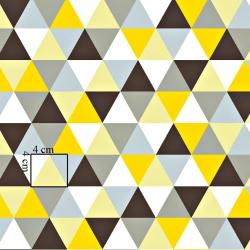 Bawełna trójkąty duże szaro żółte na białym tle