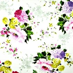 Tkanina w kwiaty bukiety różowo zielone na białym tle