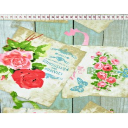 Tkanina w kwiaty pocztówki na desce