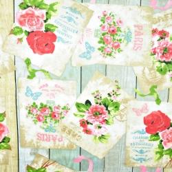 Bawełna kwiaty pocztówki na desce