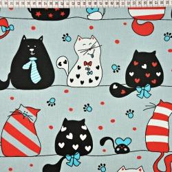 Tkanina w kotki szalone czerwono turkusowe na szarym tle