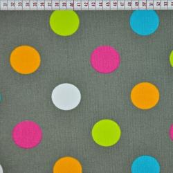 Tkanina w Koła kolorowe na szarym tle