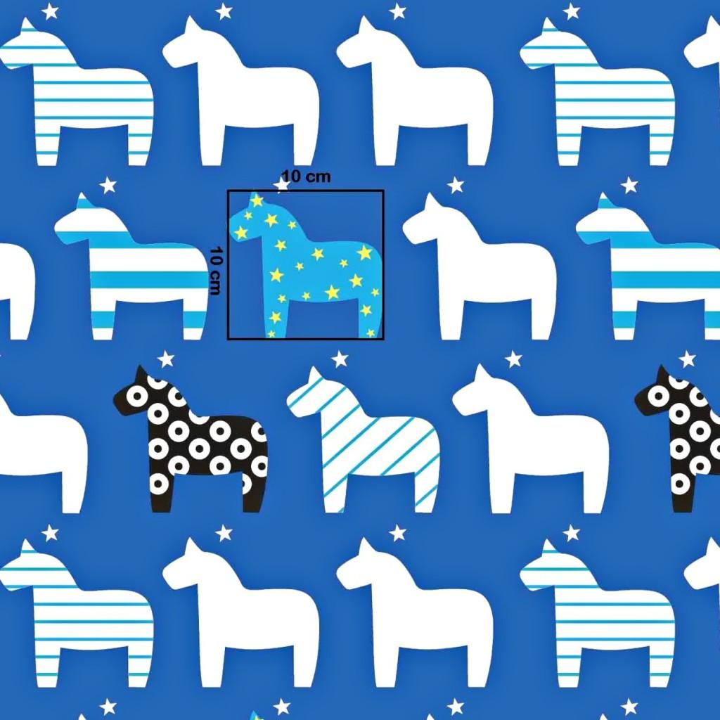 Tkanina w koniki wzorzyste na niebieskim tle