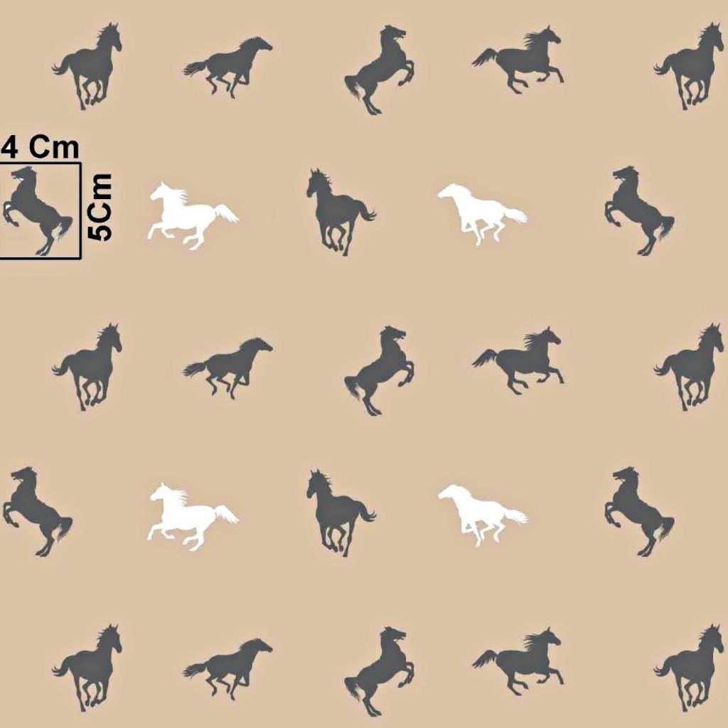 Tkanina w konie biało szare na beżowym tle