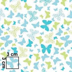Tkanina w motylki niebiesko zielone na białym tle