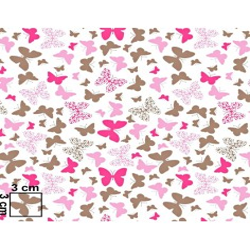 Tkanina w motylki różowo brązowe na białym tle