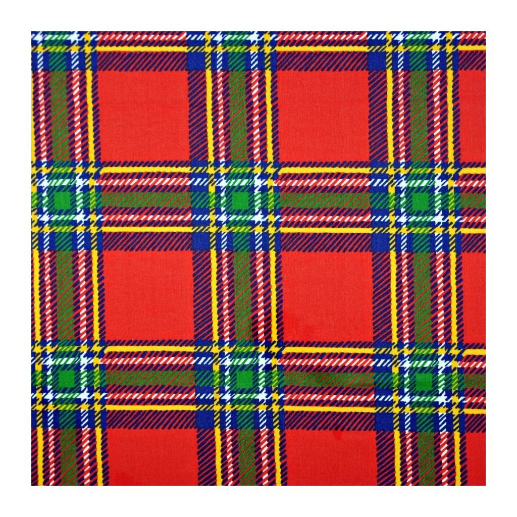 Tkanina w kratę czerwono zieloną