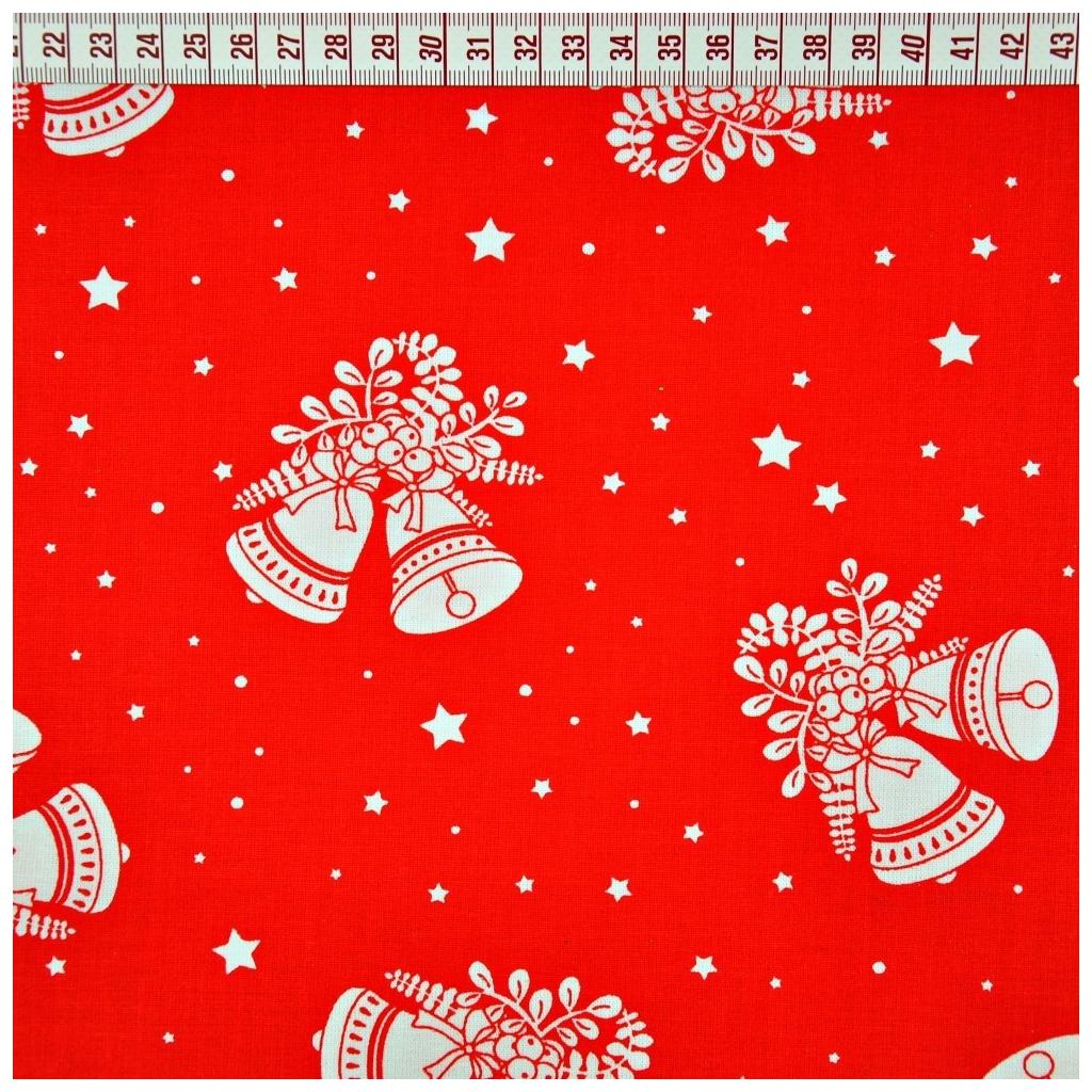 Tkanina wzór świąteczny dzwonki na czerwonym tle