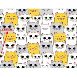 Tkanina w koty duże szaro biało żółte