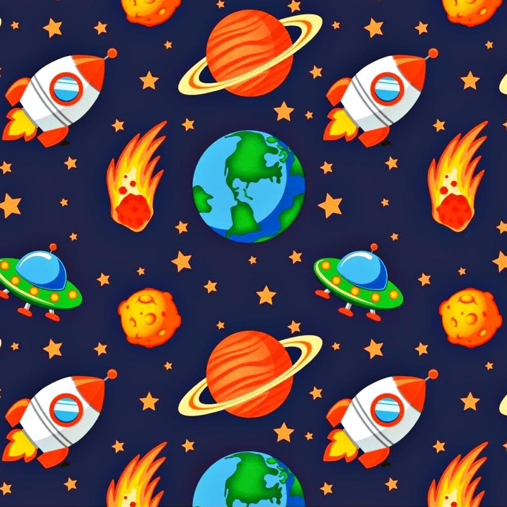 Tkanina kosmos pomarańczowy na granatowym tle