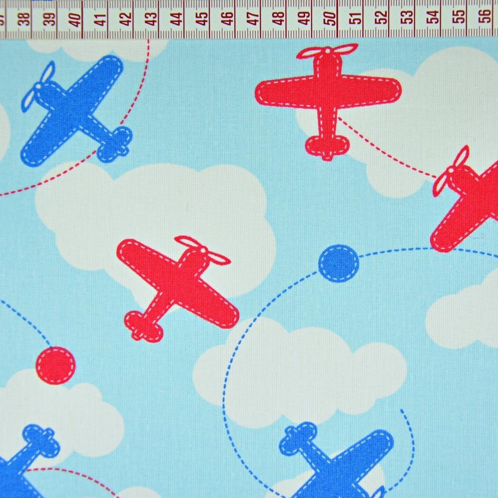 Tkanina Samoloty niebiesko czerwone na błękitnym tle