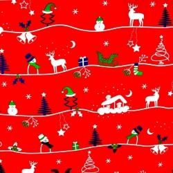 Bawełna wzór świąteczny zimowy szlak na czerwonym tle