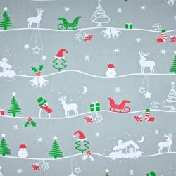 Tkanina wzór świąteczny zimowy szlak na szarym tle