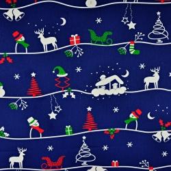 Bawełna wzór świąteczny zimowy szlak na granatowym tle