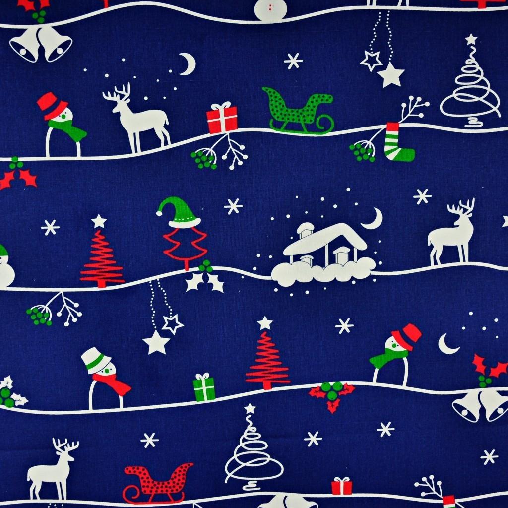 Tkanina wzór świąteczny zimowy szlak na granatowym tle